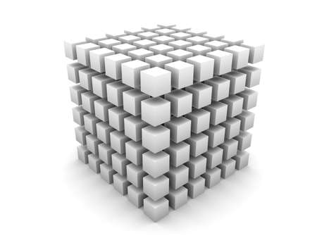 Gray cube made of smaller cubes of same size and color on white background