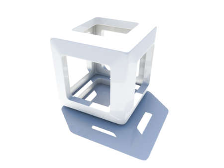 cuboid: White 3D cube with rounded corners and empty inner part on white background