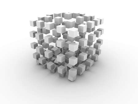 rigid: Big monochrome gray cube made of smaller cubes in process of destruction on white background Stock Photo