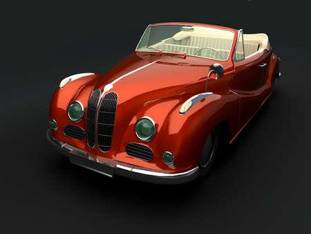 Vintage red car on dark background Stock Photo
