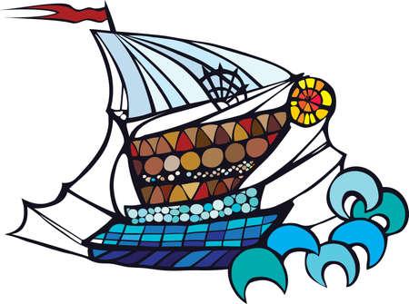 Sailing ship vector drawing  Vector