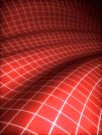 3D grid covered red surface photo