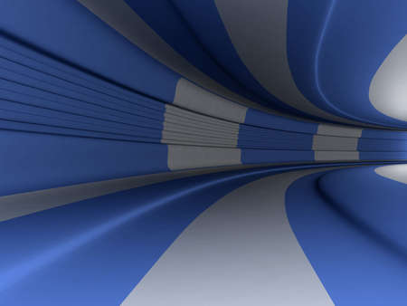 Blue and white 3d tunnel