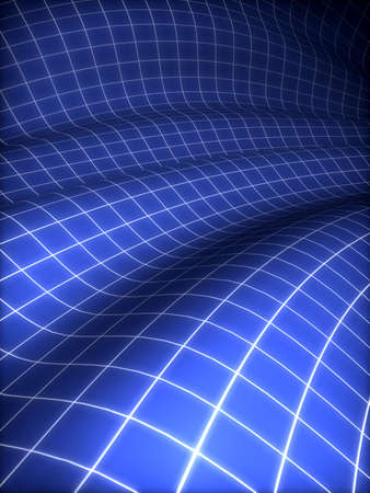 3D grid covered blue surface