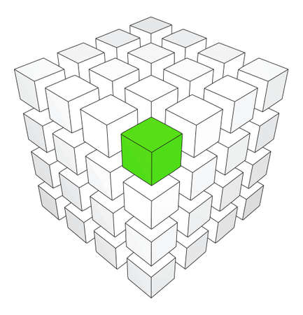 block: One individuality green cube on the white backround