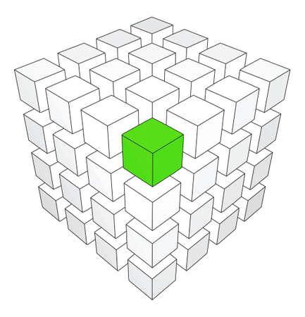 Un cubo verde individualidad en el backround blanco