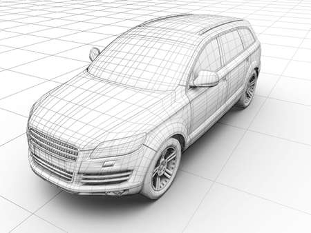 How car is designed. Image in wireframe photo