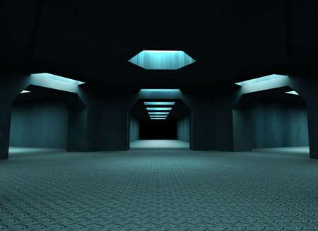 Dark mysterious tunnels. 3d illustration illustration