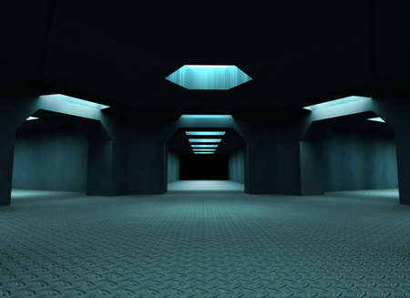 warehouse interior: Dark mysterious tunnels. 3d illustration