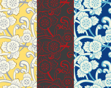 Seamless floral pattern in 3 color variations Vector