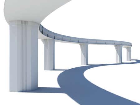 bridge construction: Skyline illustration over white background