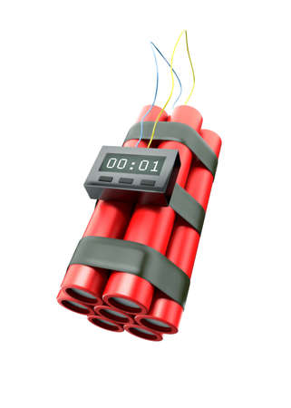 One second to explosion. Bomb with countdown illustration Stock Illustration - 6257315