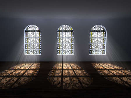 glass house: Stained-glass windows with light coming from behind Stock Photo