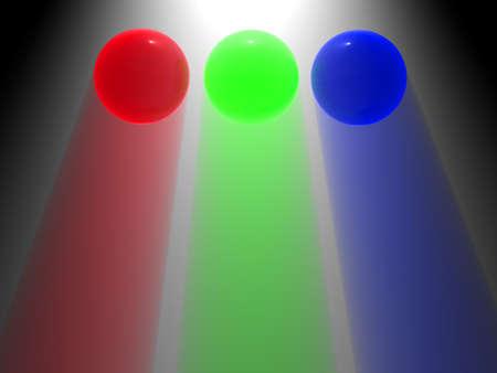 RGB glass balls with light coming through them photo