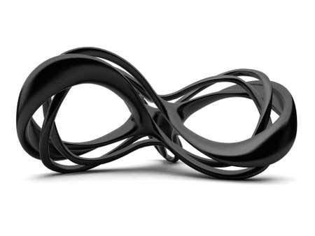 infinito simbolo: Futuristico nero 3d infinito segno illustrazione. Per altri colori si prega di controllare il mio portafoglio Archivio Fotografico