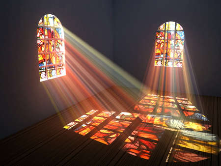 projection: Empty room with stained windows Stock Photo