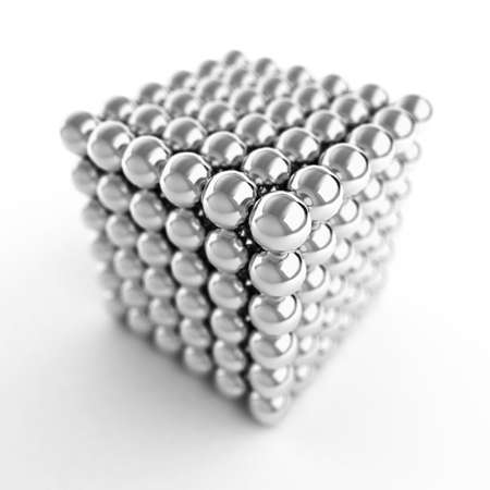Cube made from shiny metal balls. 3d Illustration. For similar images please check my portfolio