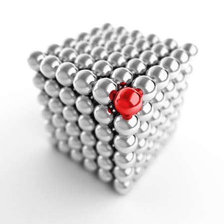 Different element. Cube made from shiny metal balls. For similar images please check my portfolio