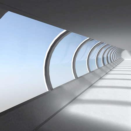 Empty corridor with large windows illustration