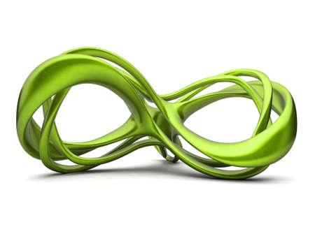 signo infinito: Futurista ilustraci�n 3d verde de signo infinito. Para otros colores, consulte mi cartera Foto de archivo