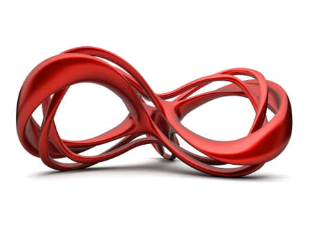 Futuristic red 3d infinity sign illustration. For other colors please check my portfolio illustration