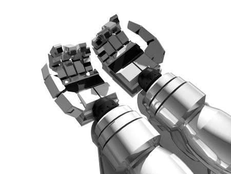 mano robotica: Dos manos vac�as de plata de robot Foto de archivo