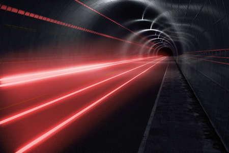 light trails: Dark tunnel with light trails