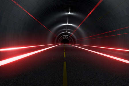 light trails: Dark tunnel with light trails middle view