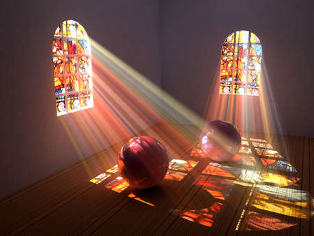 glass house: Interior of a room with stained glass windows Stock Photo