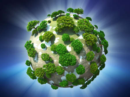 Green planet on radiant sky background