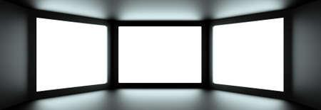 embrasure: Inside of dark digital room Stock Photo