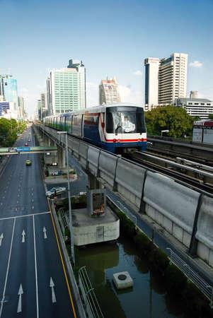Skytrain in Bangkok downtown Stock Photo