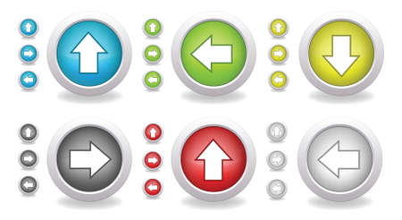 Set of colorful buttons with arrows Vector