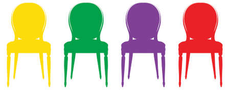 Colorful vintage chair silhouettes Vector