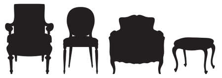 stool: Black vector silhouettes of vintage chairs Illustration