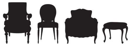 escabeau: Silhouettes noires vecteur de chaises vintage Illustration