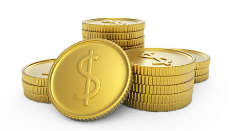 pile of golden coins isolated