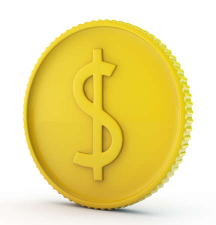 gold dollar coin isolated Stock Photo