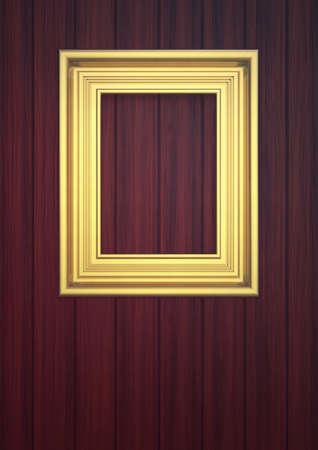 Golden frame on paneling Stock Photo - 12916688