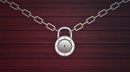 metal lock with chains on wooden background photo
