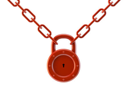 Red lock with a chain isolated on a white background