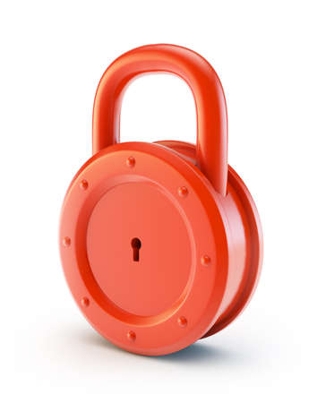 red lock isolated on a white background