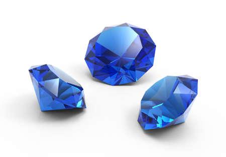 A gemme belle Saphire isolato su sfondo bianco