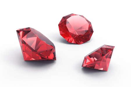 piedras preciosas: Un hermoso joyas de rub� aisladas sobre fondo blanco