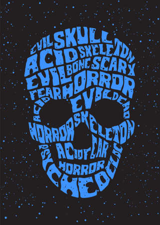 evil skull: psychedelic skull