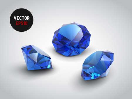 zafiro: Un hermoso zafiro gemas objetos Vectores