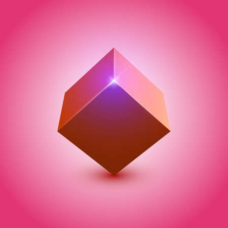 3d shiny colorful cube Illustration