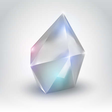 White crystal  Illustration of a realistic gemstone