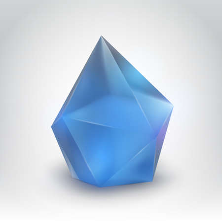mineral stone: Blue crystal  Illustration of a realistic gemstone