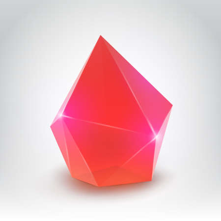 Red crystal  Illustration of a realistic gemstone